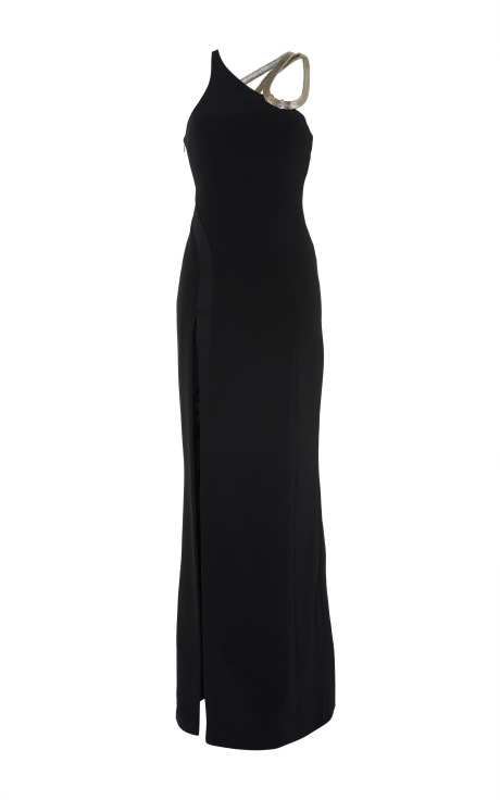 Black fitted cady and draped satin dress by mugler