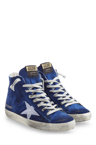 high sneakers suede blue shoes