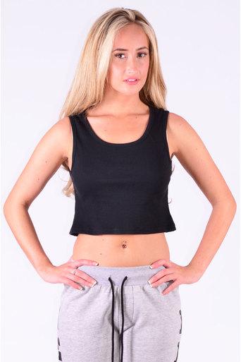 Ladies Tamir Crop Top In Black at Pop Couture UK