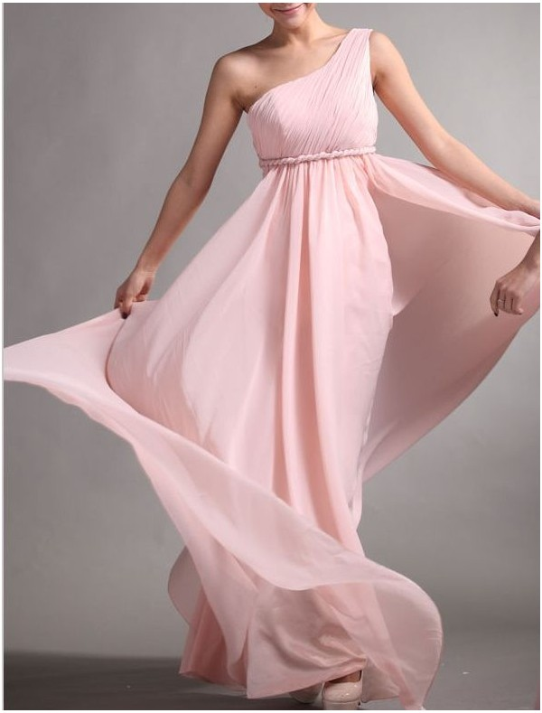 Chiffon One-Shoulder A-Line Prom Dress with Rope Form  - Special Occasion - RainingBlossoms