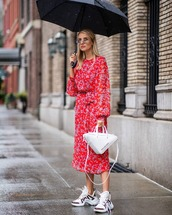 top,blouse,white sneakers,white bag,midi skirt,umbrella,sunglasses,two piece dress set