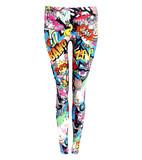 Phoebie smiley cartoon print leggings in multi colour