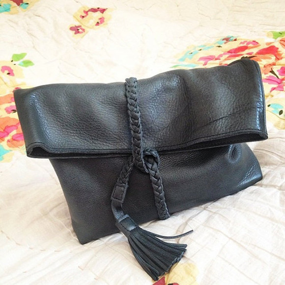bag black braided leather clutch classic carry all
