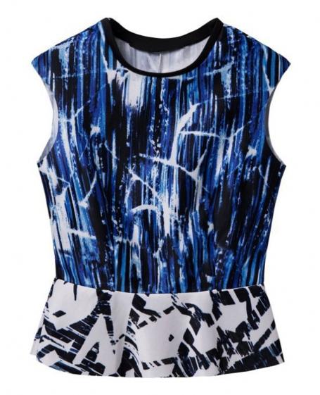 Sleeveless Printed & Seamed T-shirt   BlackFive