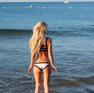 swimwear strappy back black and white swimwear
