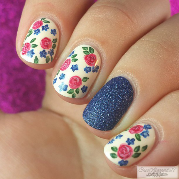nail polish pink blue roses and blue accent finger