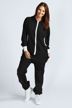 Nancy Hooded Zip Front Onesie at boohoo.com