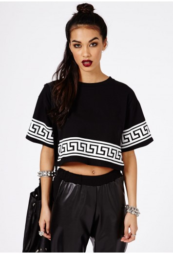 Dulce black greek key print oversized crop top