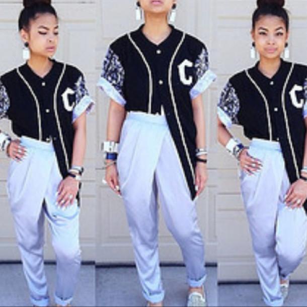 shirt clothes baseball jersey pants shoes earrings bracelets harry styles jeans blouse jacket black
