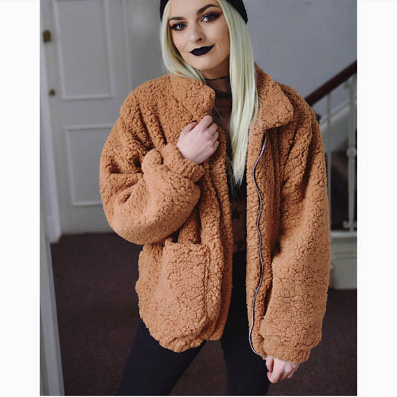 161daca51f0 Brown/ black teddy bear faux fur shaggy bomber jacket coat