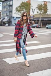 coat,tumblr,red coat,tartan,tartan coat,denim,jeans,blue jeans,skinny jeans,top,grey top,pointed toe pumps,pumps,sunglasses