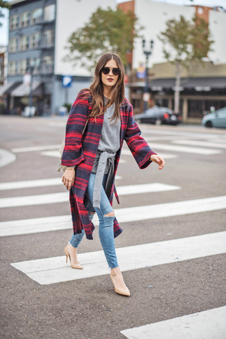coat tumblr red coat tartan tartan coat denim jeans blue jeans skinny jeans top grey top pointed toe pumps pumps sunglasses