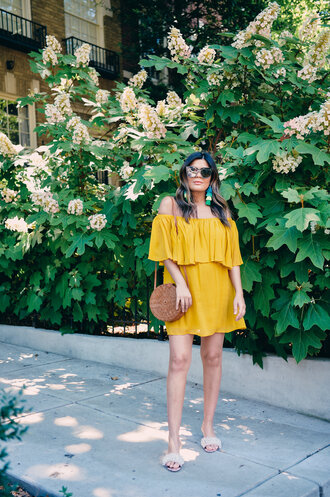 dress tumblr yellow yellow dress off the shoulder off the shoulder dress shoes slide shoes embellished bag round bag sunglasses