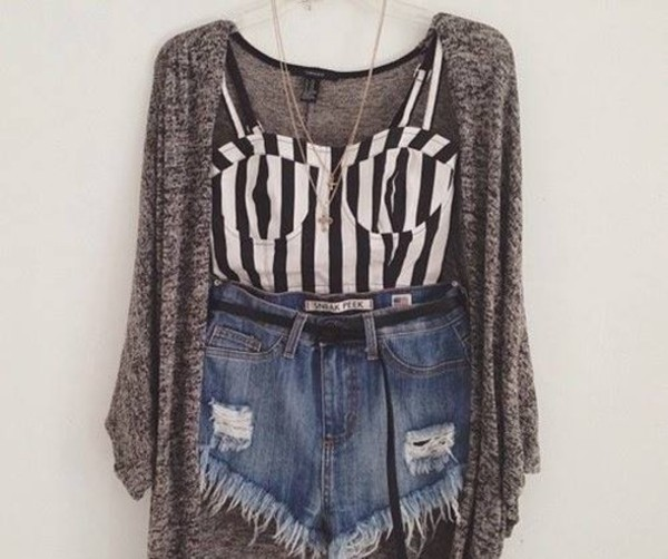 tank top High waisted shorts bustier waistcoat shorts sweater