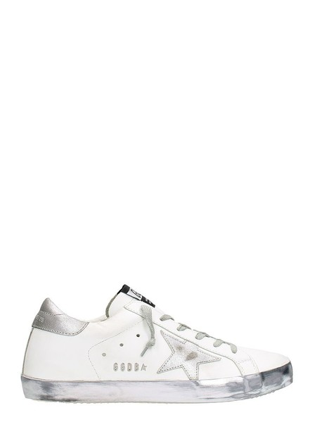 Golden goose sparkle sneakers leather white shoes
