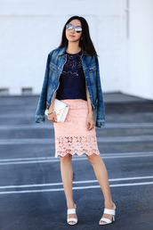 top,fit fab fun mom,skirt,jacket,blogger,shoes,bag,sunglasses,jewels,pink skirt,lace skirt,blue top,denim jacket,white bag,round sunglasses,white heels,eyelet top,eyelet skirt