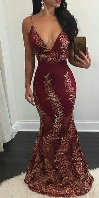 dress burgundy embroidered floral see through open back prom dress prom