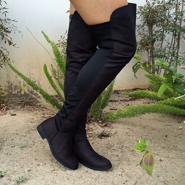 653c9a36aea Black Faux Suede Two Toned Thigh High Boots   Cicihot Boots Catalog ...
