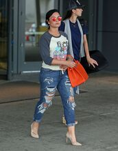 jeans,ripped jeans,top,sunglasses,demi lovato