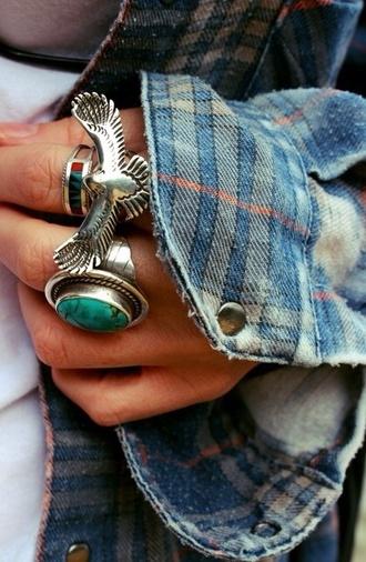 jewels ring jewelry eagle photography grunge boho girl flannel denim jacket bague boheme