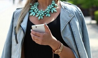 jewels necklace blue fashion fashionista cute tumblr summer colorful girl winter outfits jacket instagram home decor
