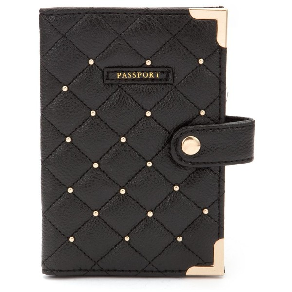 Black Diamante Quilted Passport Cover - Polyvore