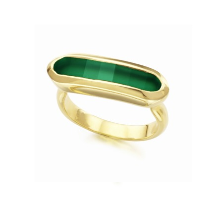 Baja Ring in 18ct Gold Plated Vermeil on Sterling Silver with Green Onyx | Jewellery by Monica Vinader