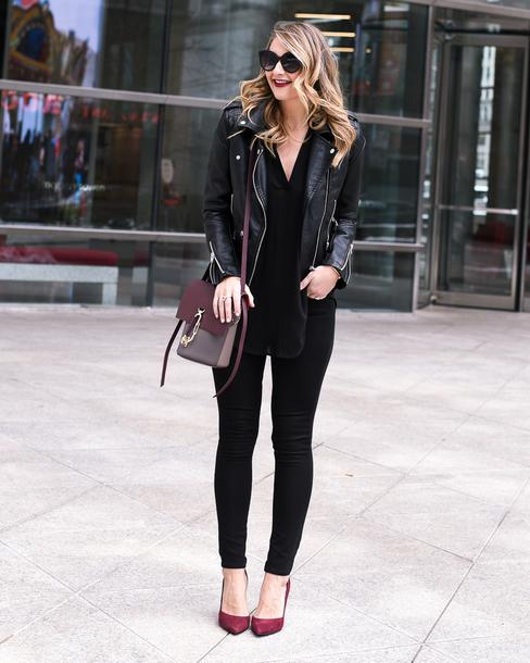 visions of vogue blogger jacket jeans shoes bag sunglasses make-up