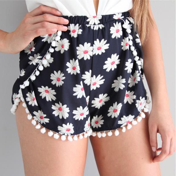 Navy Festival Floral Prints POM POM HEM Wrap Crossover Beach Shorts 6 8 10 12 | eBay