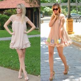 Short Sleeve Lace Pleated Chiffon Dress