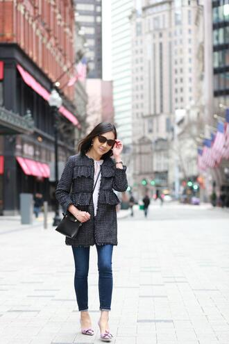 whatjesswore blogger jacket top shoes jewels crossbody bag spring outfits pumps skinny jeans