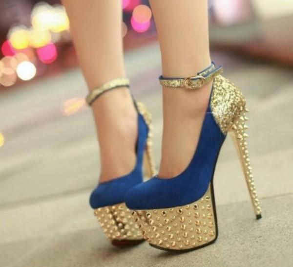 shoes blue high heels gold studs