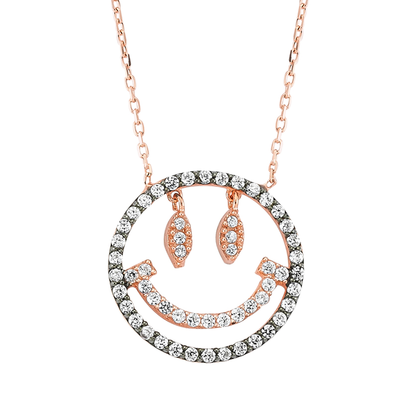 Rose gold plated sterling silver smiley necklace at amorium jewelry