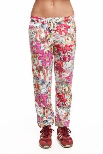 pants sweatpants floral sweatpants floral joggers flowers flower print sweatpants joggers printed pants printed joggers