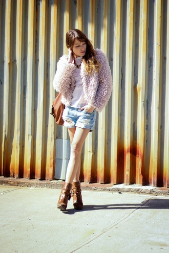 the marcy stop blogger dusty pink ripped shorts brown leather boots fluffy fuzzy coat pink jacket coat shaggy coat vintage light pink fur pink coat