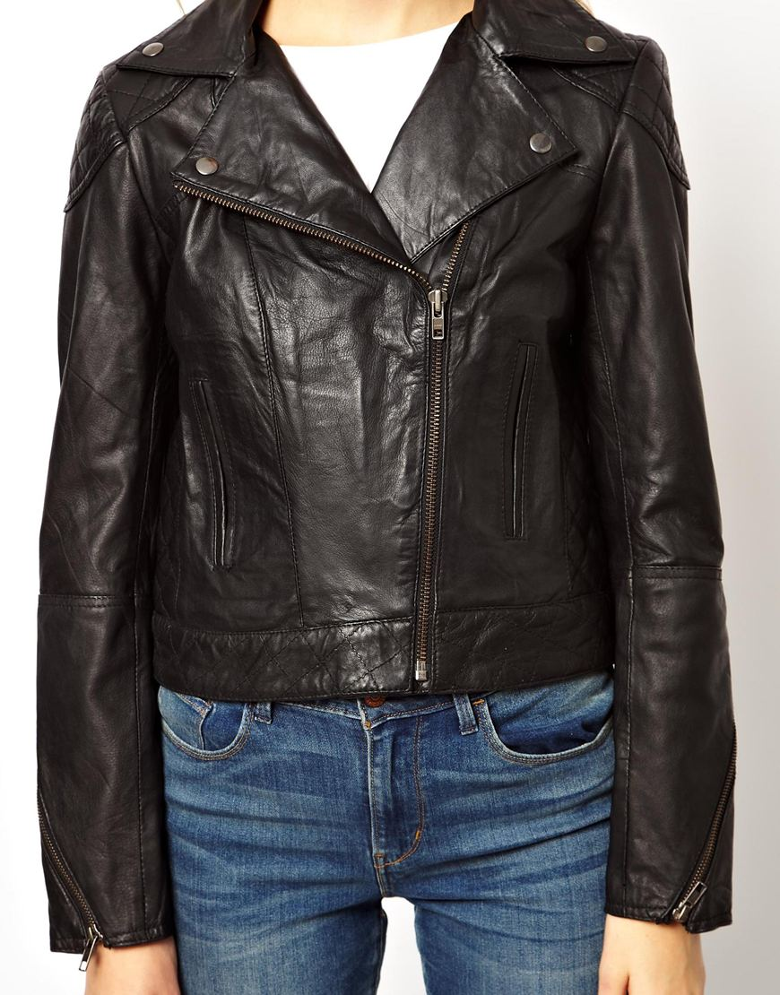 ASOS PETITE Exclusive Leather Biker Jacket at asos.com