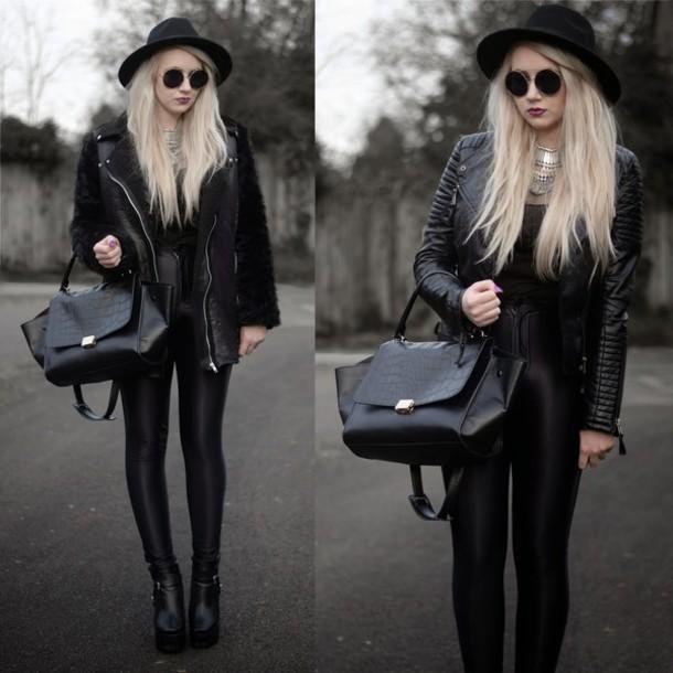 sammi jackson blogger hat all black everything jeggings