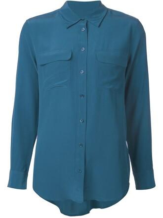 shirt women blue silk top