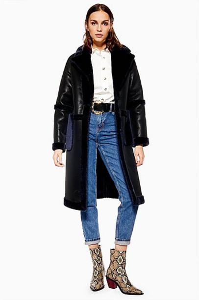 TopShop PU Faux Fur Trim Coat - Black