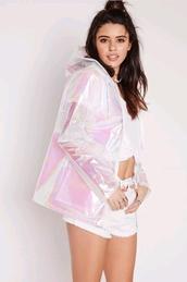 coat,raincoat,clear raincoat,holographic,holographic jacket,jacket,rain jacket,transparent,iridescent coat