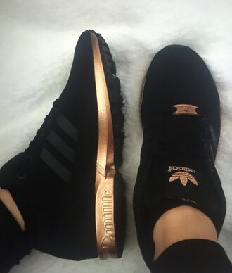 shoes black gold black and gold adidas adidas shoes sneakers addias sneakers addidas shoes black rose gold streetwear black adidas black shoes zx flux