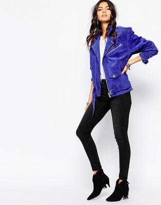 jacket suede jacket biker jacket blue
