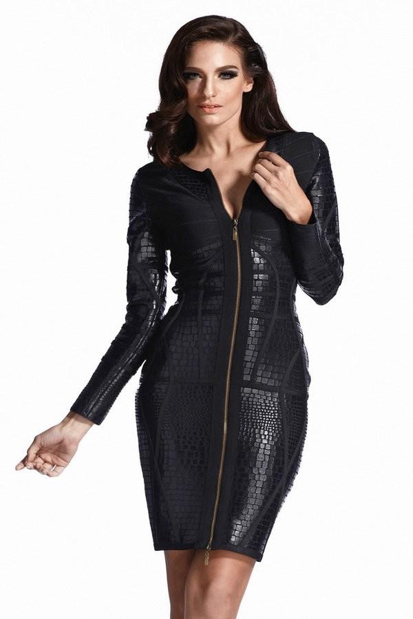 Vachel Black & Leatherette Bandage Dress