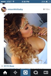 jewels,cute,pretty,big hair dont care,headpiece,crystal,gold,silver,ombre,ombre hair,brunette