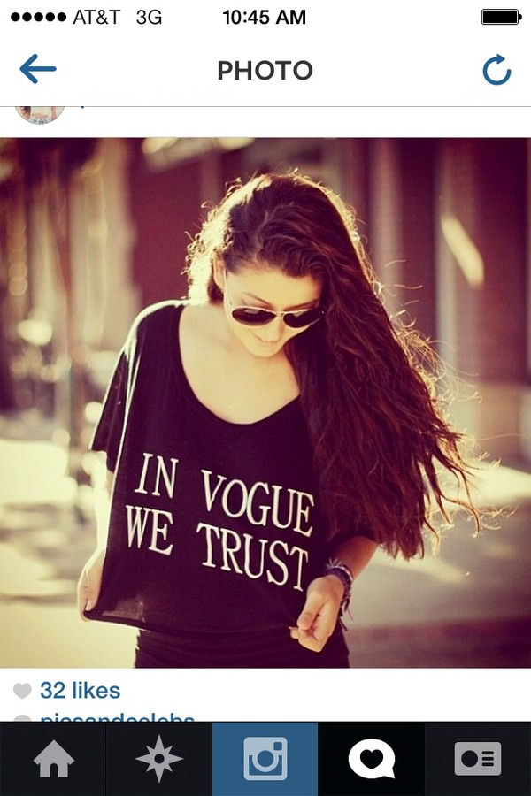 shirt black vogue trust in vogue we trust t-shirt black crop top crop tops vogue crop tops