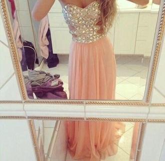 dress peach jewels peach dress maxi dress chiffon dress rhinestones