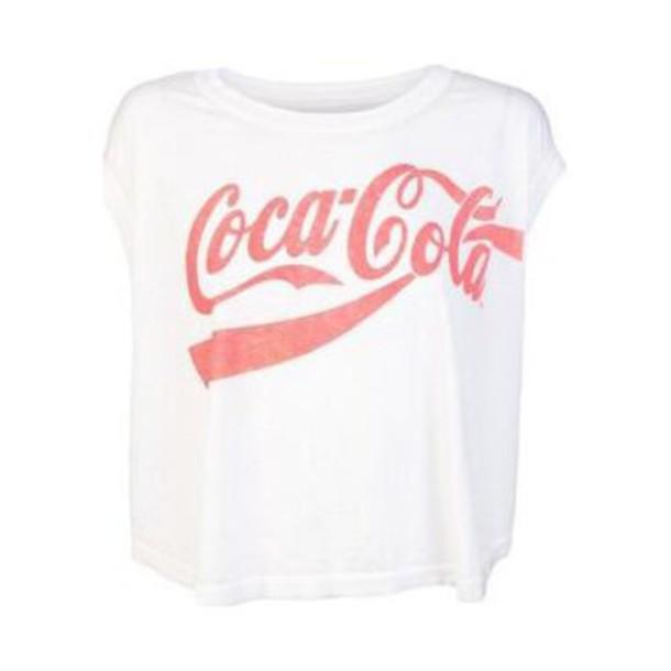 coca cola white pink t-shirt shirt