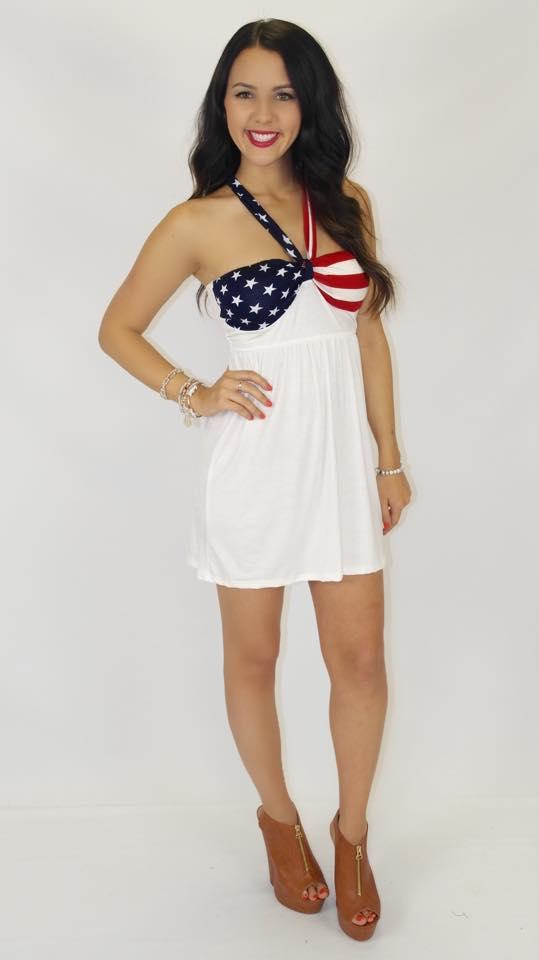 American Pie Mini Dress White American Flag
