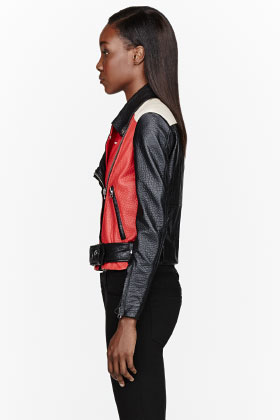 Acne Studios Black & Red Pebbled Leather Merci Biker Jacket for women | SSENSE