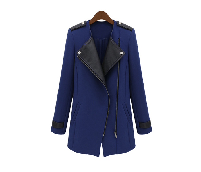 Wholesale Stylish Lapel Collar PU Leather Splicing Long Sleeves Trench Coat For Women (BLACK,M), Jackets & Coats - Rosewholesale.com
